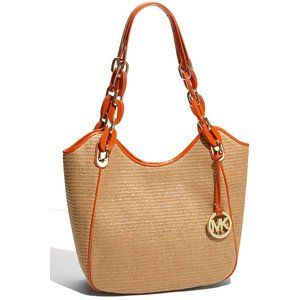 Michael Kors Lilly Medium Straw Tote, Natural/Tangerine