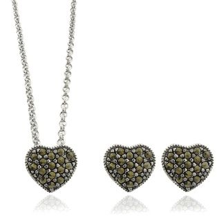 Silver Overlay Marcasite Heart Necklace and Earring Jewelry Set