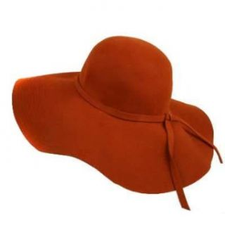 Burnt Orange Rust Wool Wide Brim Diva Style Floppy Hat