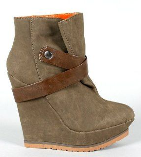Wedge Platform Ankle Booties High Top Heel Boot Women Shoes (7) Shoes