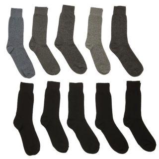 Lot de 10 chaussettes T39/42 Jersey Homme Noir, gris chiné, gris