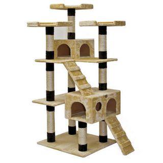 Go Pet Club 72 inch High Beige/ Black Cat Tree