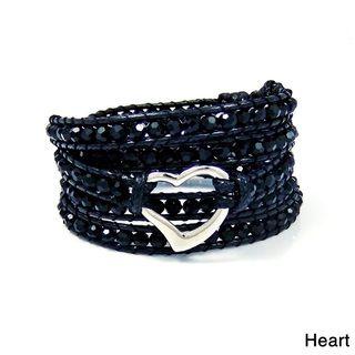 Twilight Dreams Heart, Skull, or Peace Crystal Wrap Bracelet (Thailand