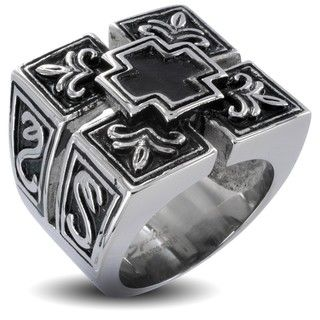 Stainless Steel Mens Cross Shield Ring