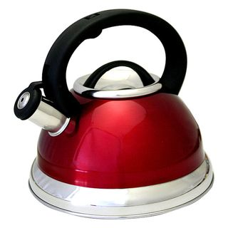 Prime Pacific Red Stainless Steel 3 quart Whistling Tea Kettle