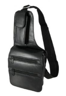 Black Leather Holster Style Travel Wallet Clothing
