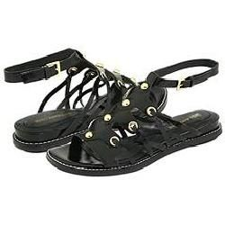 Enzo Angiolini Quillen Black Leather Sandals