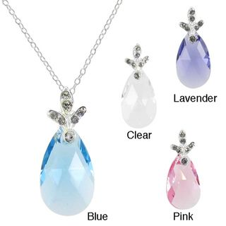 Sunstone Sterling Silver Faceted Pear cut Necklace Made with SWAROVSKI