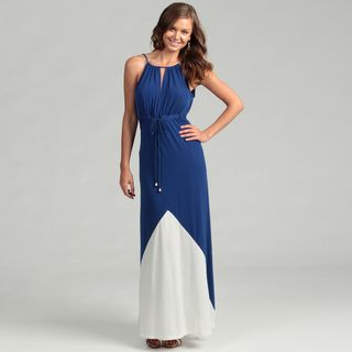 London Times Womens Blue/ White Maxi Dress