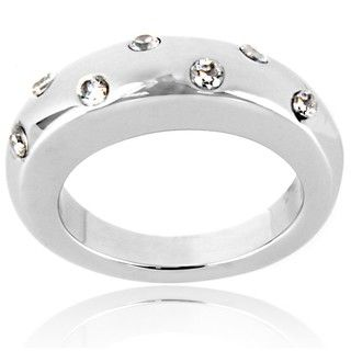 High polished Stainless Steel Round Clear Crystal Graduated Band