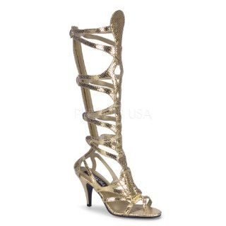Skin Faux Leather Egyptian Sandal, 3 1/2 inch Gold Met Snake Pu Shoes