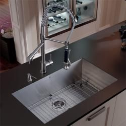 Vigo Undermount Stainless Steel Kitchen Sink, Faucet Grid and