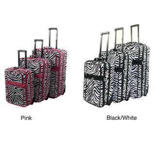 World Traveller Zebra Pattern Expandable 3 Piece Upright Luggage Set