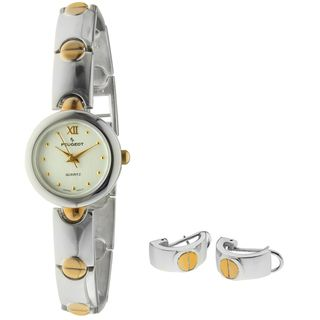 Peugeot Womens Two tone Watch and Earring Set