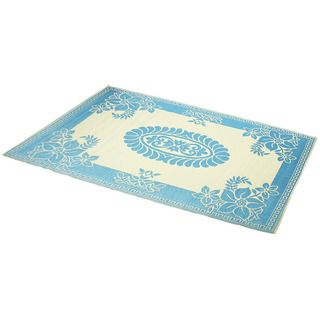 Hand Stitched Turquoise/Ivory Indoor/Outdoor Flatweave Rug (6 x 9