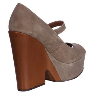 Steven by Steve Madden Womens Nockout Taupe Suede Wedges