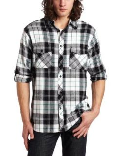 Burnside Young Mens Vortex Flannel Shirt, White, Small
