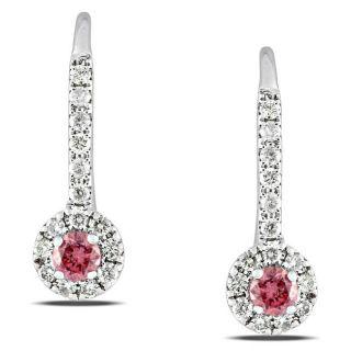 Miadora   Aretes colgantes de oro blanco 14 K con diamantes rosados y