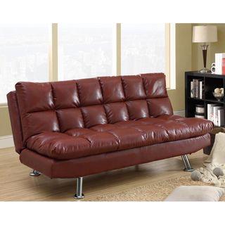 Red Leather Tufted Design Futon