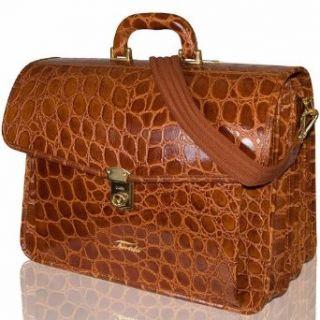 Terrida Italian Designer Caramel Croc Leather Attorney