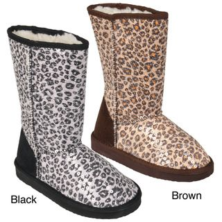 Journee Kids Girls K ugena leo Faux Suede Mid calf Leopard Print