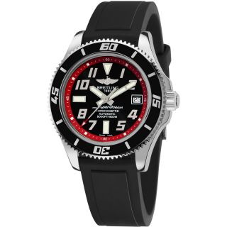 Breitling Mens Super Ocean Abyss Black Silicone Strap Watch