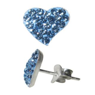 Sterling Silver Light Blue Crystal Heart Earrings