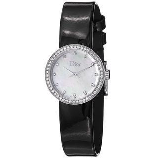 Christian Dior Womens La D De Dior Black Leather Strap Diamond Watch