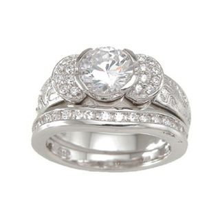 Sterling Silver Round Cubic Zirconia Antique Bridal style Ring Set