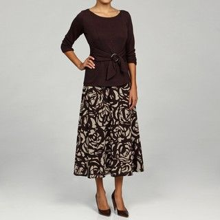 Perceptions Womens Brown 2 piece Sweater Dress Set