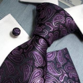Purple Patterned Woven Silk Tie Handkerchiefs Cufflinks