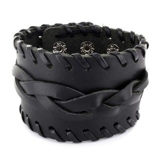 Black Leather Braided Center Bracelet