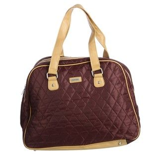 Ellen Tracy Chocolate Quilted Weekender Carry On Tote