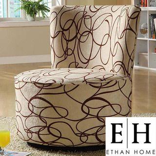 ETHAN HOME Moda Chocolate Swirl Print Round Swivel Chair