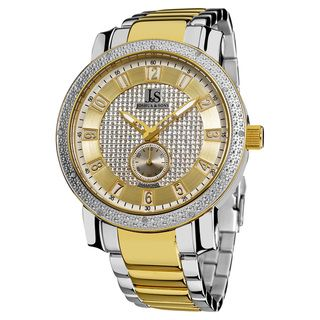 Joshua & Sons Mens Stainless Steel Diamond Bracelet Watch