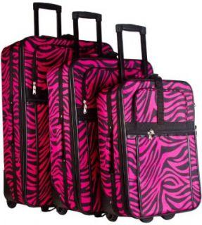 Hot Pink Zebra 3 Piece Luggage Set Clothing