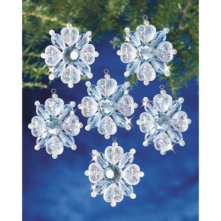 Holiday Beaded Ornament Kit Filagree Snowflake 1 3/4 Makes 12