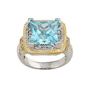 La Preciosa Two tone Large Blue Cubic Zirconia Ring