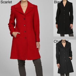 Larry Levine Womens Notch Collar Classic Wool Coat