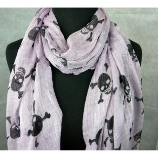 Lavender Skull And Cross Bones Fashion Scarf