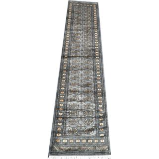 Hand knotted Gray/ Beige Bokhara Wool Rug (27x 12)