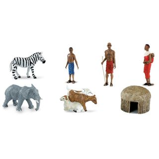 Plastic Miniatures In Toobs African Village