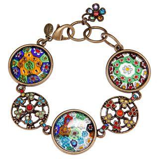 Sweet Romance Bronzetone Retro Candy Circle Charm Bracelet