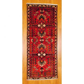 Persian Hand knotted Hamadan Red/ Ivory Wool Rug (38 x 92