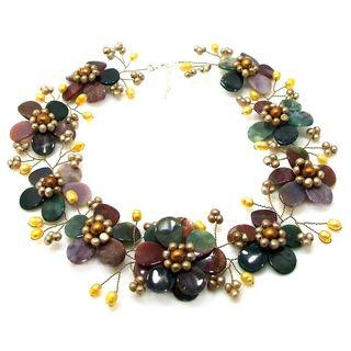 Sublime Floral Multicolor Jasper Gold Pearl Necklace (Thailand