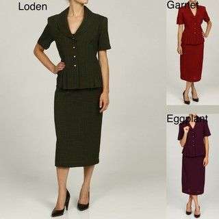 Danny & Nicole Womens Short Sleeve Buttoned Skirt Suit