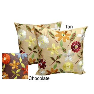 Milena Floral Embroidered Jewel Embellished 18x18 inch Throw Pillows