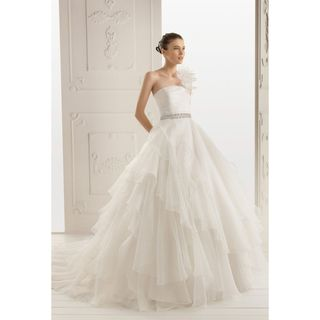 Womens Ivory Organza One shoulder Pageant Style Wedding Gown