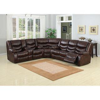Pulsar Dark Brown Leather Sectional Sofa Set