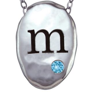Chroma Silver Created Zircon December Birthstone Initial Necklace Made